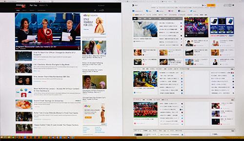 4K(3840×2160ドット)の広い画面領域によりホームページ2画面がフル表示。