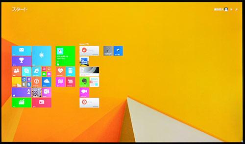 Windows8のトップ画面の4K液晶(3840×2160ドット)画面