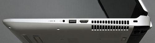 本体右側面。右から盗難防止用ロック、ファン放熱孔、HDMI出力端子、USB3.0コネクター、ヘッドフォン出力/マイク入力コンポポート。