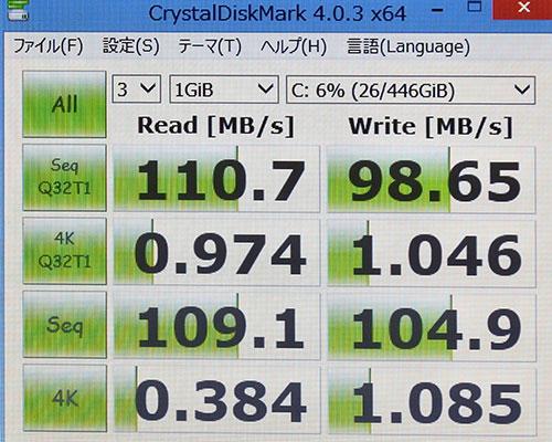 CrystalDiskMark3.0でのストレージベンチマークスコア。(Cドライブ500GB HDD)<br />読み込み110と一般的なハードディスクスコア。
