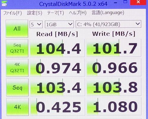 CrystalDiskMark3.0でのストレージベンチマークスコア。(Cドライブ1TB HDD)<br />読み込み104と一般的なハードディスクスコア。