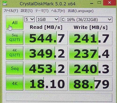 CrystalDiskMark3.0でのストレージベンチマークスコア。(Cドライブ256GB SSD)<br />読み込み544.7と高速なSSDならではのハイスコア。