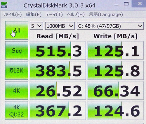 E450 CrystalDiskMark3.0でのストレージベンチマークスコア。(Cドライブ128GB SSD)<br />高速SSDならではの読み込み515のハイスコア。<br />※参考までにHDDでは平均100番台のスコアになります。