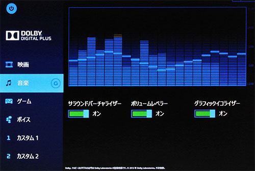 音のチューニングが出来るDOLBY対応ソフト。Dolby DIGITAL PLUS。