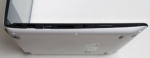 本体左側面。左からKensington、AC電源アダプター、USB2.0ポート 、メモリカードスロット、コンポオーディオ端子、回転ロックボタン、音量ボタン。