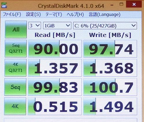 CrystalDiskMark3.0でのストレージベンチマークスコア。(Cドライブ500GB HDD)
