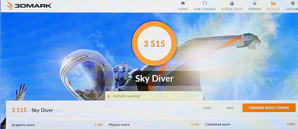 3DMark Sky Diverでのスコア3515。