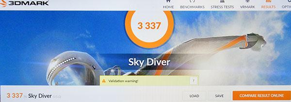 3DMark Sky Diverでのスコア3337。