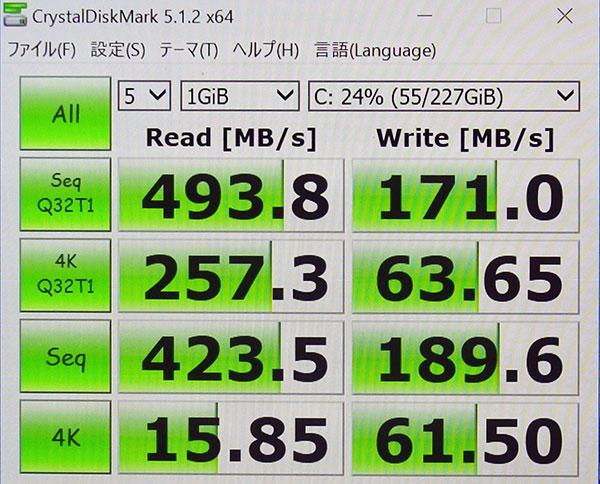 CrystalDiskMark3.0でのストレージベンチマークスコア。(Cドライブ256GB SSD)