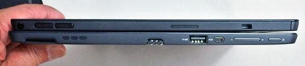 上X1 Tablet(厚さ13.65mm)本体左側部。右からセキュリティロックスロット、スピーカー、ボリュームボタン、オーディオコネクター。