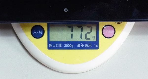 タブレット本体重量772g。(X1 Tabletは743g)