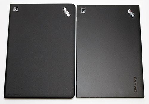 左 E450 右 X1 Carbon<br />本体天板比較。