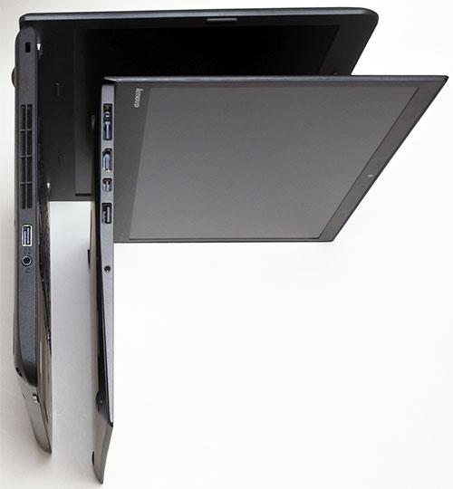 本体厚さ比較。<br />E450は最厚24.4mmに対してX1 Carbonは最厚17.72mmとX1が圧倒的に薄くなります。<br />E450はそれでも内蔵DVDドライブ非搭載により前モデルより薄くなりました。
