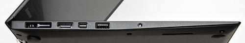 本体左側面。左から電源コネクター+Lenovo OneLink コネクター、HDMI コネクタ-、Always On USB 3.0 コネクター、オーディオ・コネクター。