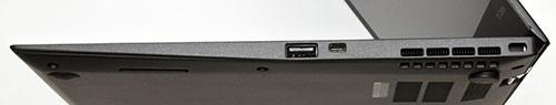 本体右側面。右からセキュリティー・ロック・スロット、ファン放熱孔、イーサネット拡張コネクター、USB 3.0 コネクター。