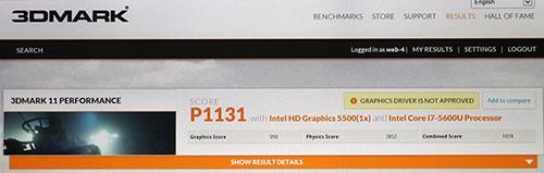 X1 Carbonでの3DMark11 FireStrikeのスコア1131。<br />同じく3DMark11でもE450より約874劣る