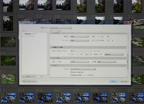 Photoshop Lightroom CC版でのRAW現像設定画面。