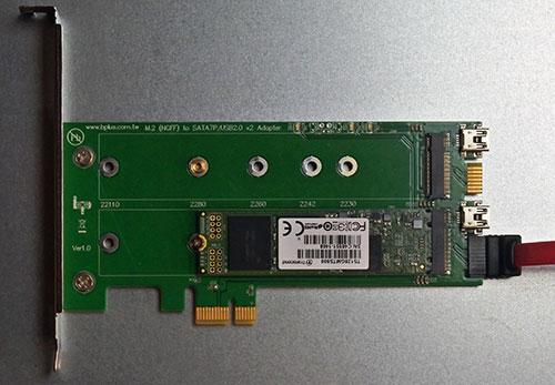 M2PS : PCIeスロット搭載用SATA-M.2 SATA SSD x2アダプタ。 デスクトップPCでM.2 NGFF SATA SSDが利用可能。標準7ピンSATAポートに変換。M.2モジュールのキーはKeyBもしくはKey B/M。2230,2242,2260,2280,22110サイズに対応しすべてのM.2 SATA SSDが利用できます。