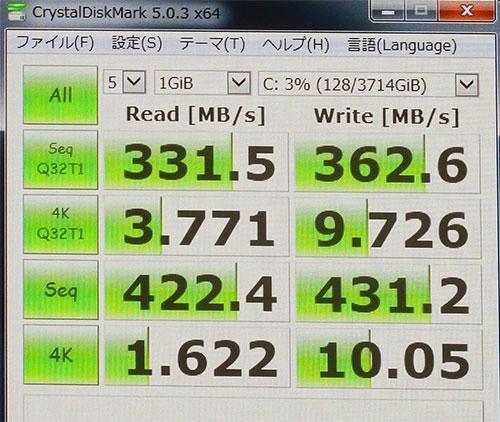 CrystalDiskMark3.0でのストレージベンチマークスコア。(Cドライブ 2TB SSHD×2 4TB ストライピングRAID 0)