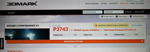 Quadro K620の3DMark 11のスコア3743。