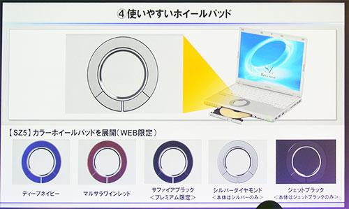 最大特長の丸いホイールパッドに5色のカラー選択可能に。