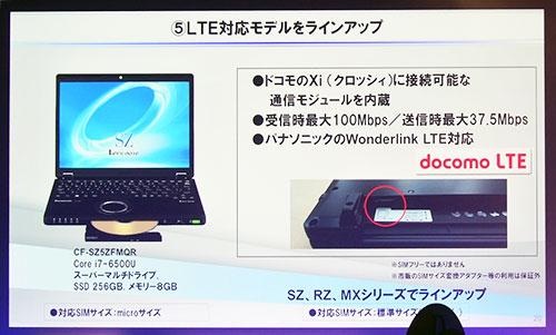 次世代通信規格「LTE」を搭載したXi(LTE)対応ワイヤレスWAN内蔵モデルも選択可能。
