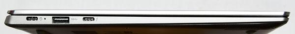 本体左側部。左からUSB3.0 Type-C (USB Power Delivery対応)、USB 3.0、USB3.1 Type-C高速データ転送できる(USB Power Delivery対応、Thunderbolt™3、DisplayPort 出力機能付き)