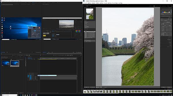 二つのAdobe Creative Cloud製品(Premiere Pro CCとLightroom Classic CC)の一画面表示。