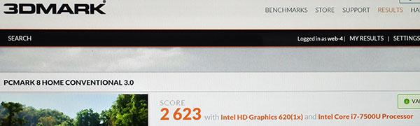 ベンチマークソフトPC Mark 8でのスコア2623