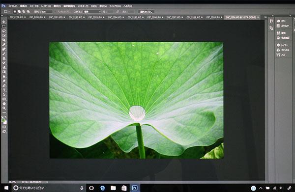 一眼レフカメラニコンD7100での高解像度JPGデータを画像編集ソフトフォトショップ2017年CC版に取り込む。