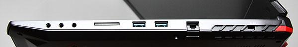 本体右側部。右からステレオヘッドホン端子、マイクロホン端子、S/PDIF(オプティカル)出力、UHS-ll対応高速カードリーダー、USB 3.1端子(Type-A)×2、ネットワーク(LAN)端子、ケンジントンロック