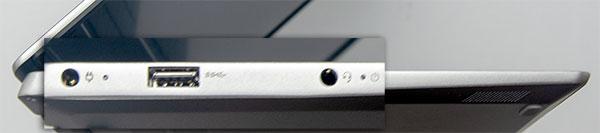 本体左側部。左から電源コネクター、USB3.0 (USB Power Delivery対応)、ヘッドフォン・ジャック
