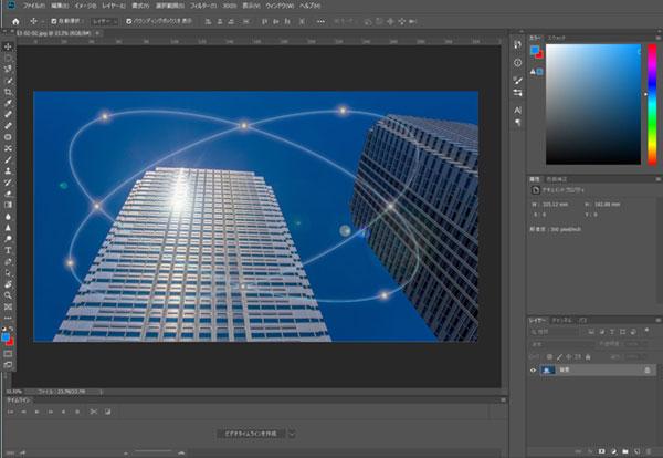 アドビ画像編集ソフトAdobe Premiere Pro CC 2019年版版での背景画像の合成作業。