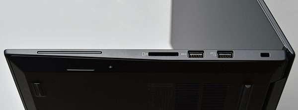 本体右側部。右からセキュリティー・キーホール、USB3.0(Powered USB) × 1、USB3.0×1、 4-in-1メディアカードリーダー、スマートカードリーダー(日本発表モデルには未搭載) 。