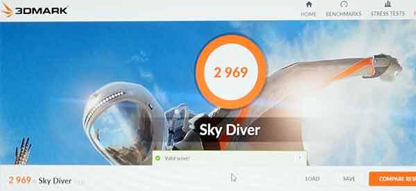 3DMark Sky Diverのスコア2969。