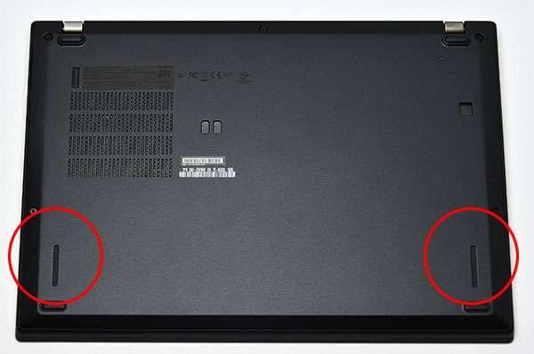 底面。x280からはバッテリーの交換ができなくなりました。