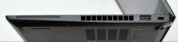 本体右側面。右からスマート・カード・スロット(一部のモデルで使用、ファン放熱孔、Always On USB 3.1 コネクターGen 1、