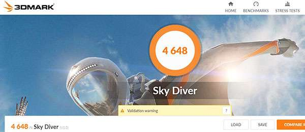 3DMark Sky Diverのスコア4648。