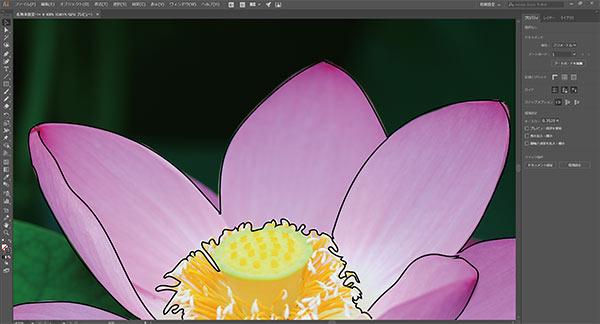 画像データをIllustratorに配置、Yoga付属のペンで花びらの輪郭を描画。