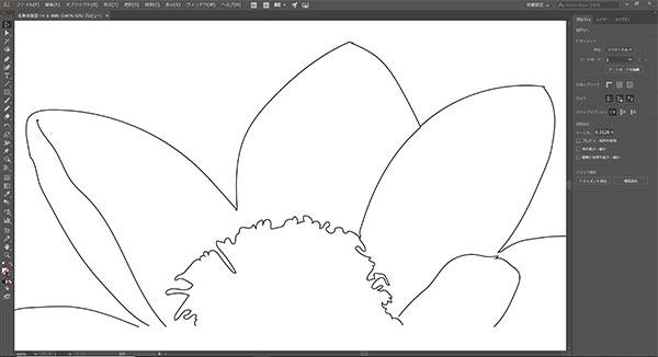 上記ペン描画をアウトライン表示。 細かい部分もきれいに描けました。