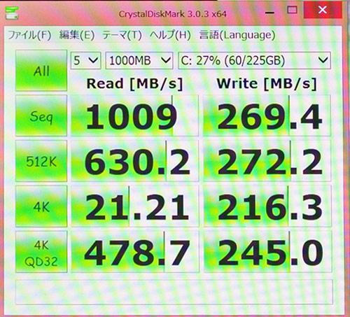 このスコアは、モバイルワークステーションW540でのRAID0構成(2台のSSDにデータを分散して高速化)の読込(1009)で、