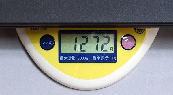 重量表示。本体内蔵バッテリー+6セルバッテリーで約1.27kgの構成内容。