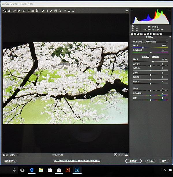 最新Photoshop CC版で高解像度デジタル一眼レフカメラRAWデータ(2400万画素数)の現像が出来ました