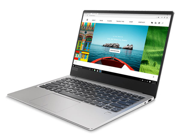 Lenovo Ideapad 720S (13, AMD) laptop, right front angle view, open